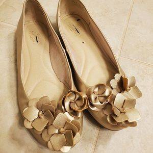 Gold Ballet Flats with beautiful flowers